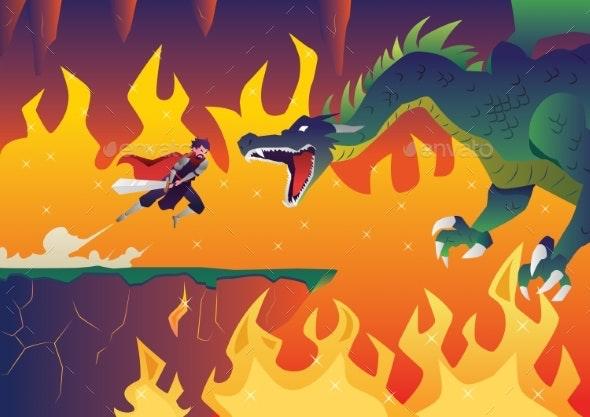 Knight Versus Dragon - Miscellaneous Vectors