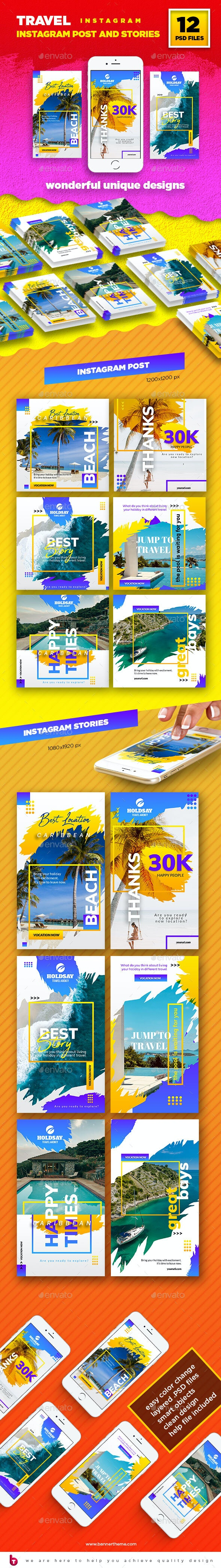 Travel Instagram Post and Stories - Social Media Web Elements