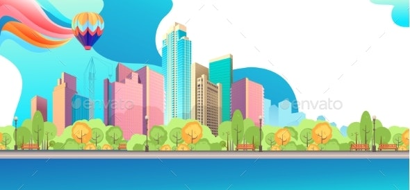 City Landscape Horizontal Day Vector Banner - Buildings Objects