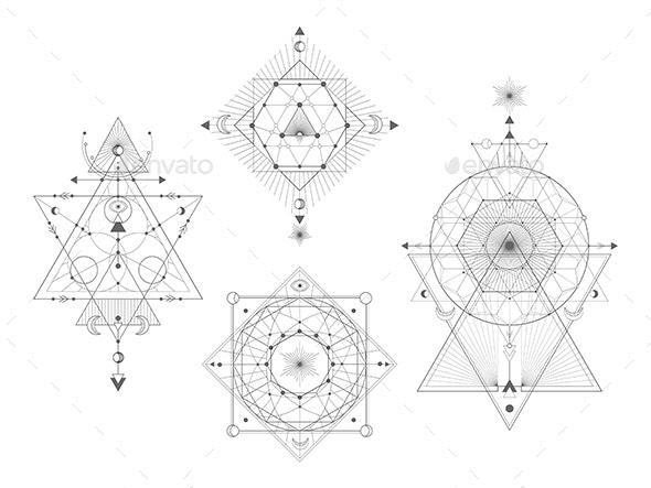 Sacred Geometric Symbols - Decorative Symbols Decorative