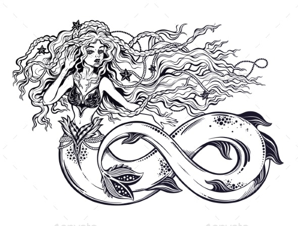 Mermaid Girl with Fish Tail As Infinity - People Characters