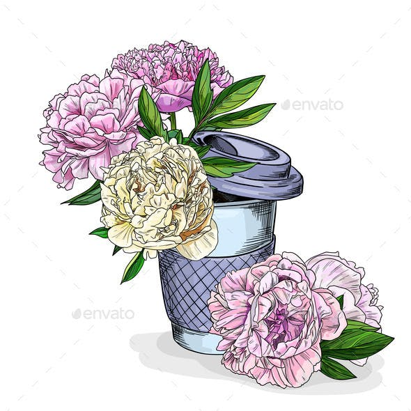 Lush Peonies in a Coffee Cup
