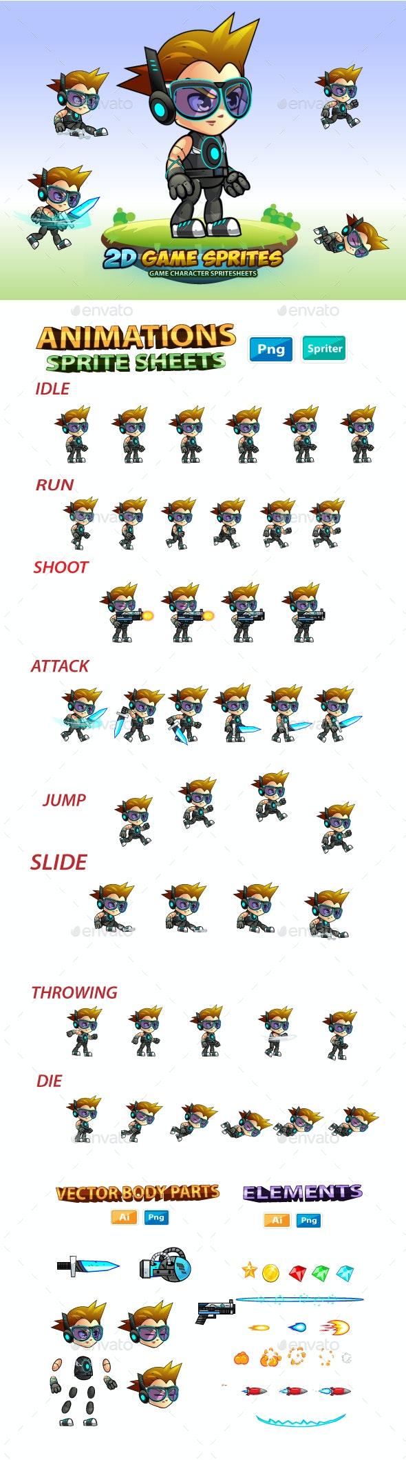 Calvin 2D Game Charcter Sprites - Sprites Game Assets