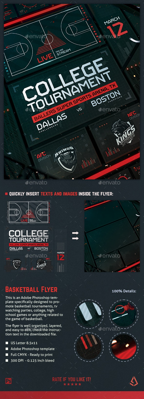Basketball Flyer College Hoops Madness Template - Sports Events