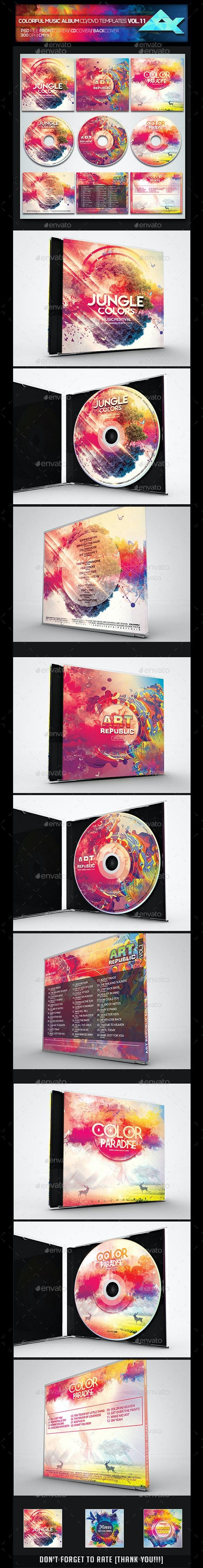 Colorful CD/DVD Album Covers Bundle Vol. 11 - CD & DVD Artwork Print Templates