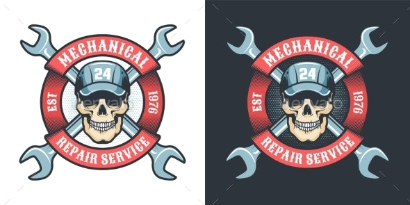 Skull Mechanic with Wrench and Ribbon - Vintage - Industries Business
