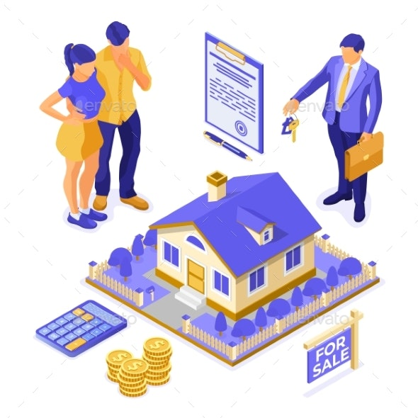 Sale Purchase Rent Mortgage House Isometric - Miscellaneous Vectors
