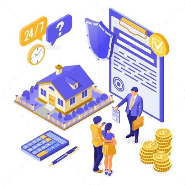 Sale Insurance Rent Mortgage House Isometric - Concepts Business