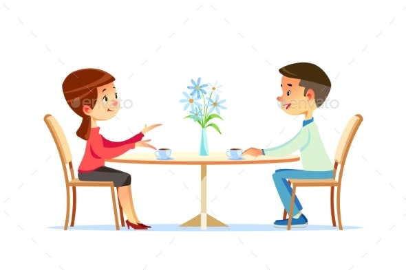 Couple Sitting at Table Drinking Tea - People Characters