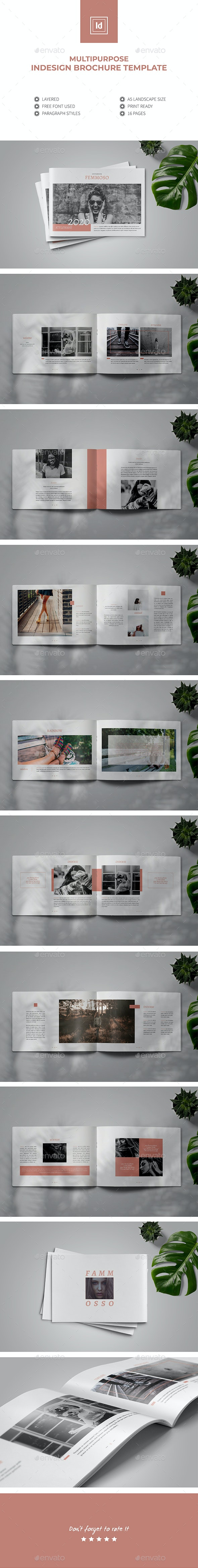 Multipurpose Clean Indesign Brochure Template - Brochures Print Templates