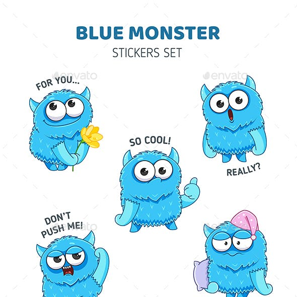 Blue Monster Stickers Set