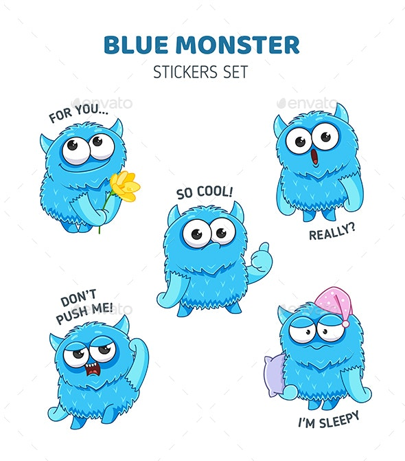 Blue Monster Stickers Set - Monsters Characters