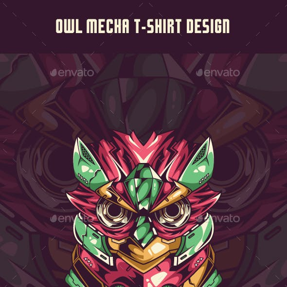 Owl Mecha T-Shirt Design