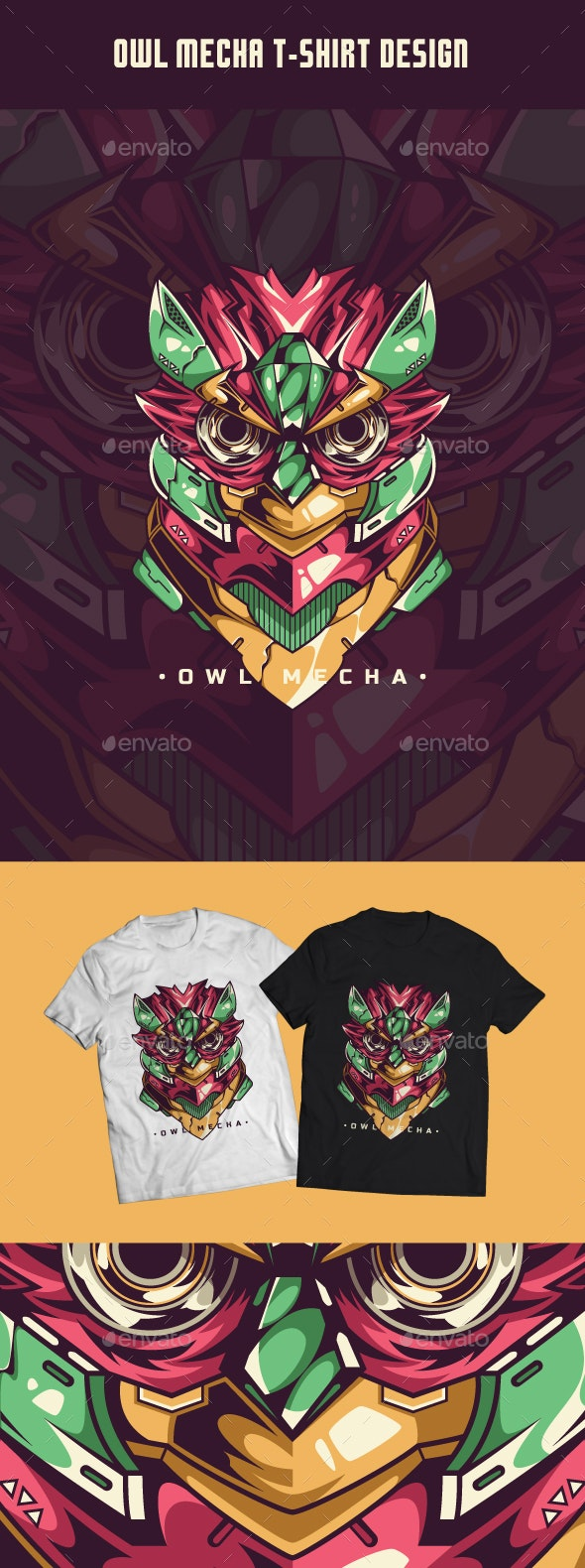Owl Mecha T-Shirt Design - Designs T-Shirts