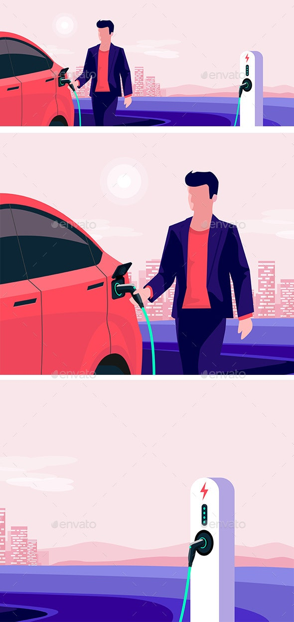 Electric Car Charging with Man Holding Charger Plugy Skyline - Miscellaneous Vectors