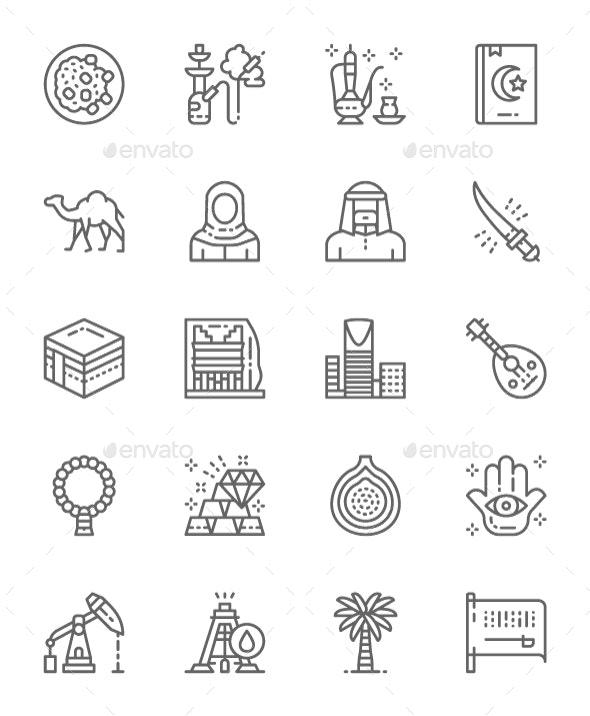 Set Of Saudi Arabia And Arabic Culture  Line Icons. Pack Of 64x64 Pixel Icons - Objects Icons