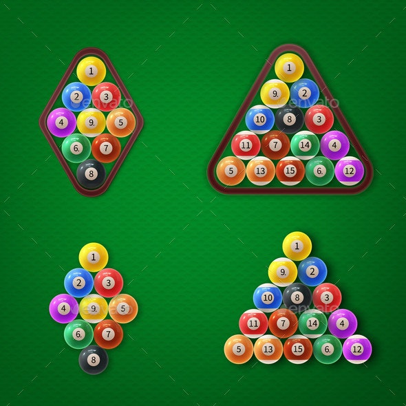 Different Types American Pool Ball Racks Vector - Man-made Objects Objects