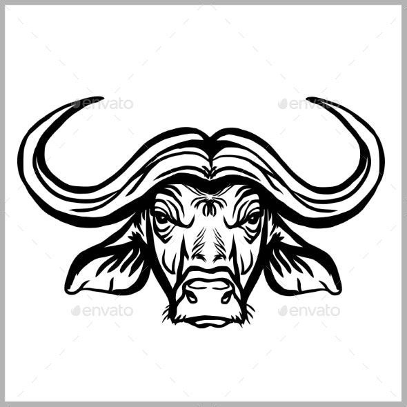 Wild Buffalo Bull Head for Mascot or Tattoo Design - Animals Characters