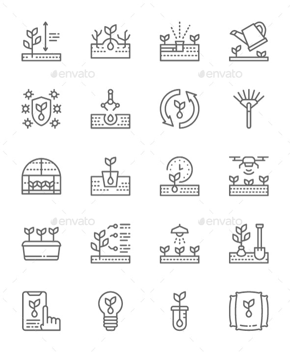 Set Of Planting  Line Icons. Pack Of 64x64 Pixel Icons - Objects Icons