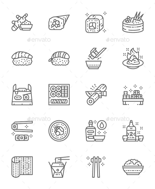 Set Of Japanese Food And Sushi  Line Icons. Pack Of 64x64 Pixel Icons - Food Objects