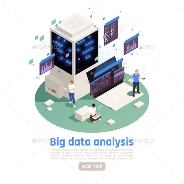 Big Data Analysis Isometric Composition