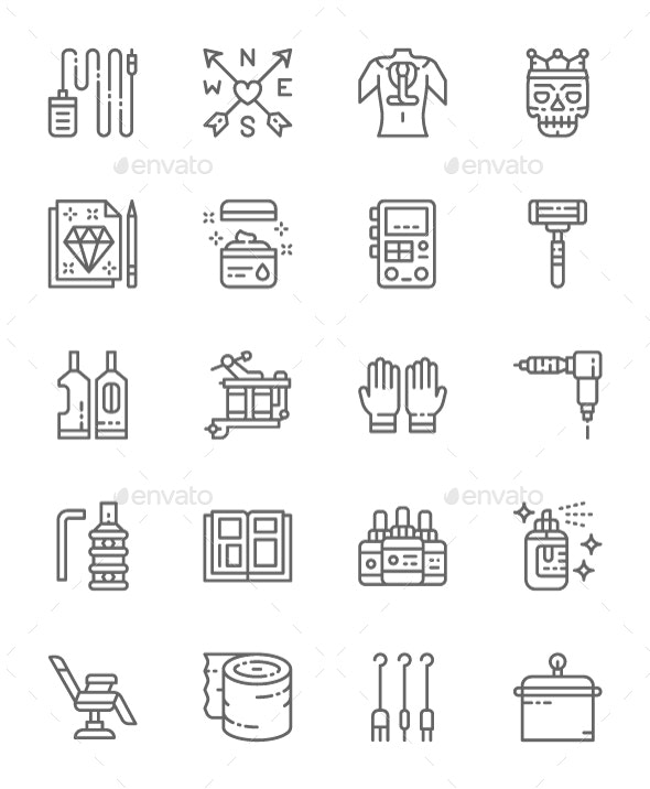 Set Of Tattoo Studio  Line Icons. Pack Of 64x64 Pixel Icons - Objects Icons