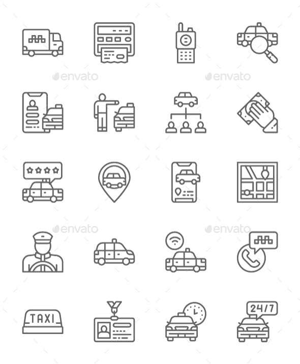 Set Of Taxi  Line Icons. Pack Of 64x64 Pixel Icons - Objects Icons