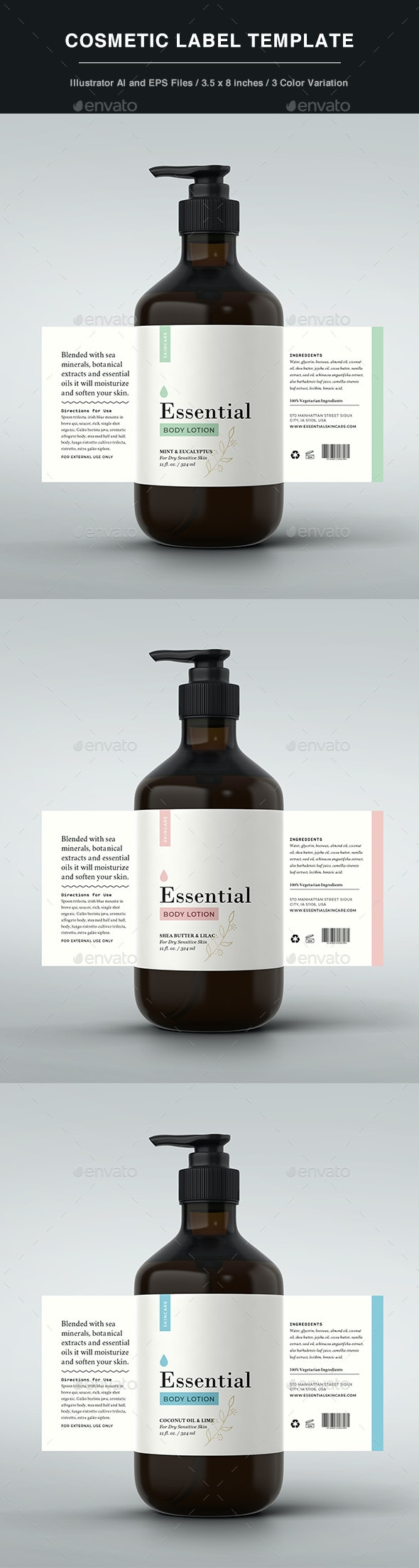 Cosmetic Label - Body Lotion - Packaging Print Templates