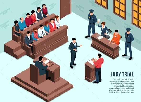 Jury Trial Isometric Background - People Characters