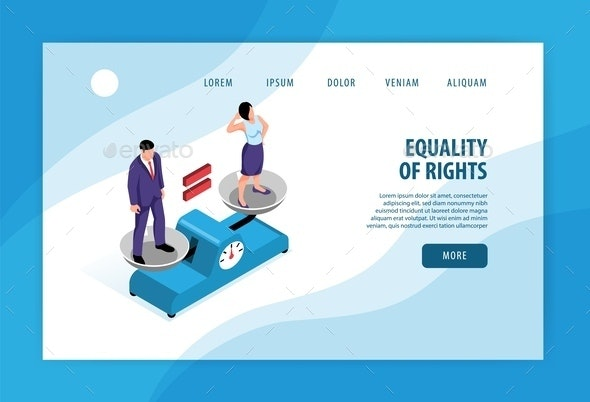 Isometric Feminism Landing Page - Computers Technology