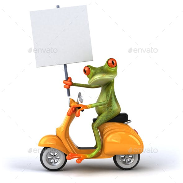 Fun Frog on a Scooter