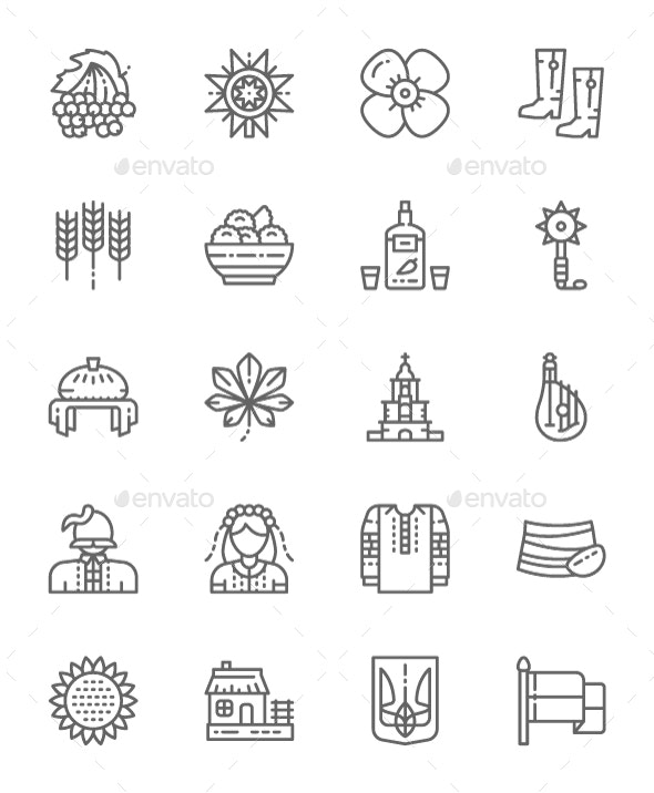 Set Of Ukrainian Culture  Line Icons. Pack Of 64x64 Pixel Icons - Objects Icons