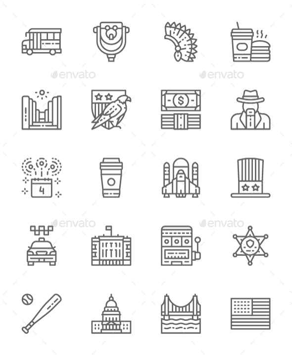 Set Of American Culture Line Icons. Pack Of 64x64 Pixel Icons - Objects Icons