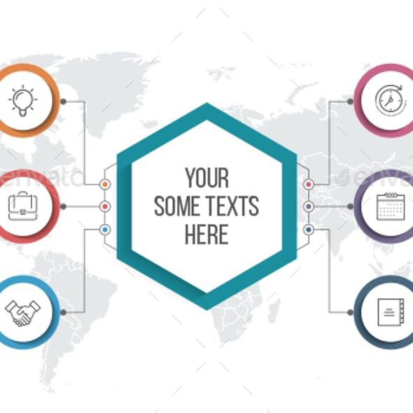 Circle Infographics with Hexagon