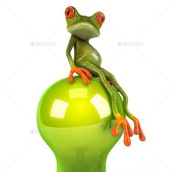 Fun Green Frog on a Lightbulb
