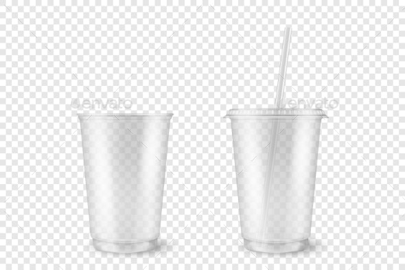 Vector Realistic Empty Clear Plastic Opened - Food Objects