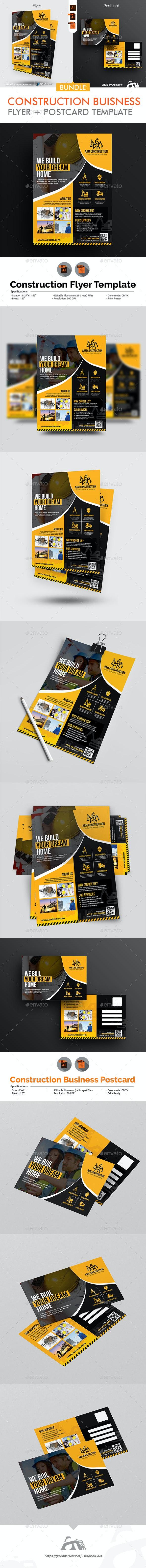 Construction Flyer & Postcard Bundle - Corporate Flyers