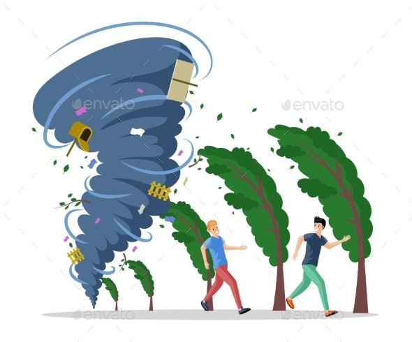 Frightened Men Running From Hurricane Vector Flat - Flowers & Plants Nature