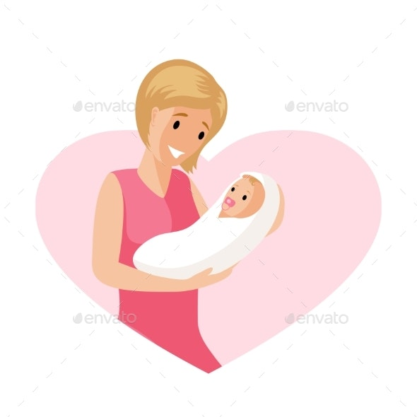 Woman and a Baby in Tender Embrace Vector Flat - People Characters
