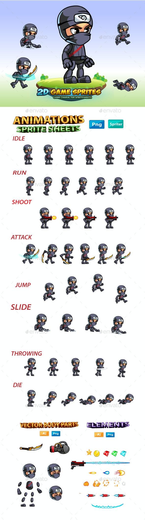 Ninja  2D Game Charcter Sprites - Sprites Game Assets