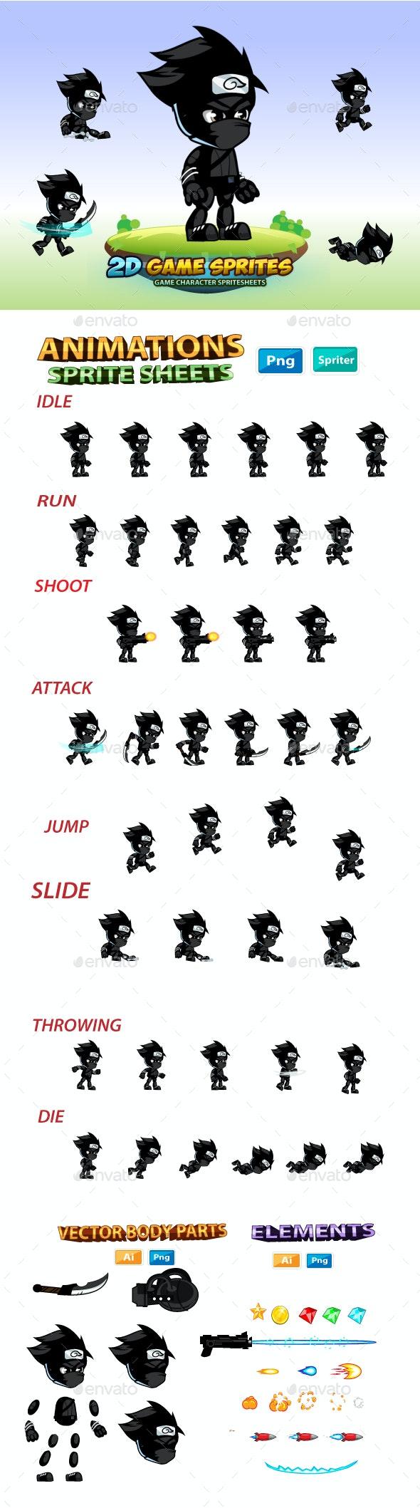 Shadow Ninja  2D Game Character Sprites - Sprites Game Assets
