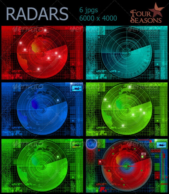 Abstract radars illustrations - Tech / Futuristic Backgrounds