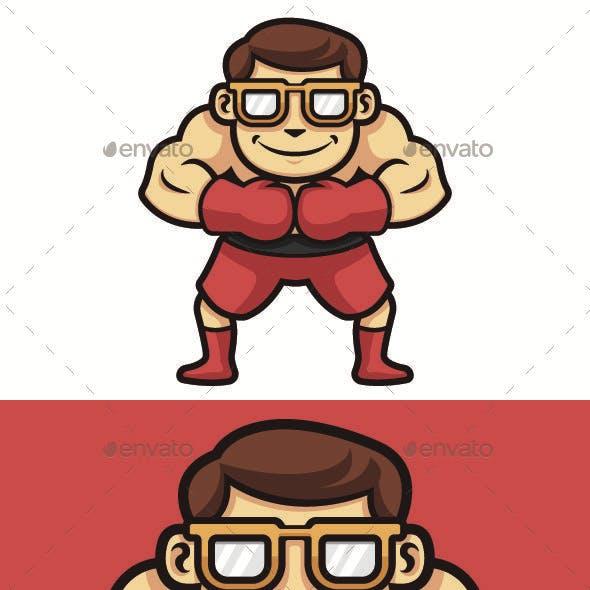Geek Man Boxing Vector Character Illustration