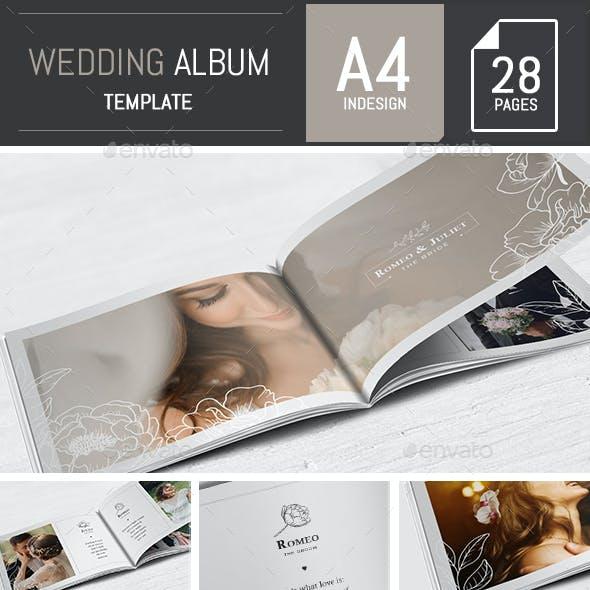 Wedding Photo Album Horizontal Brochure Template - InDesign