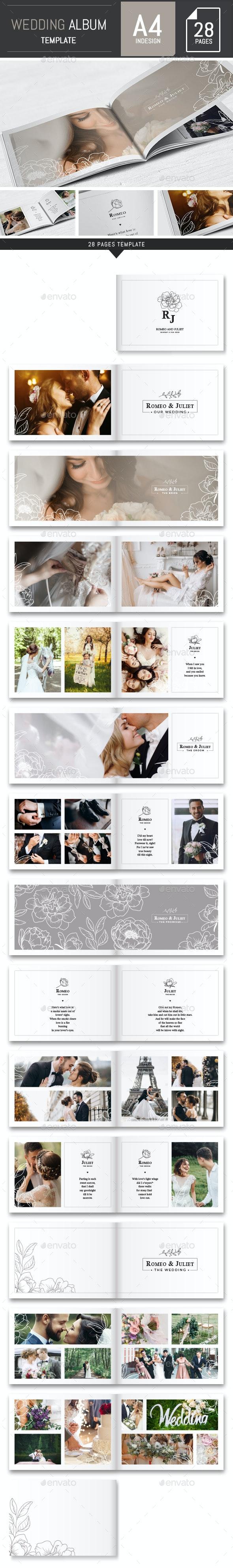 Wedding Photo Album Horizontal Brochure Template - InDesign - Photo Albums Print Templates