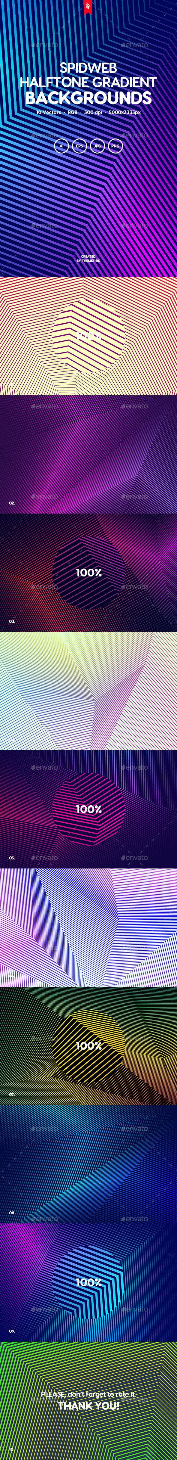 Spidweb - Geometric Halftone Gradient Vector Background Set - Abstract Backgrounds