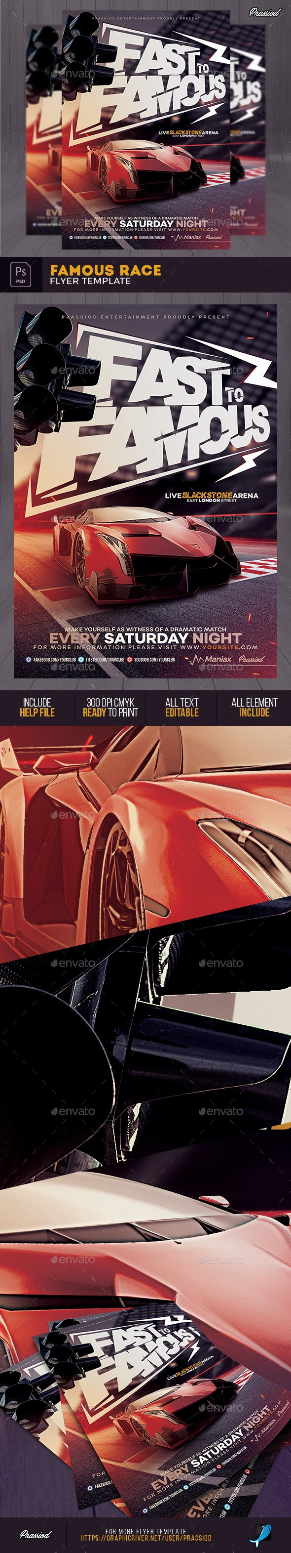Famous Race Flyer Template - Sports Events