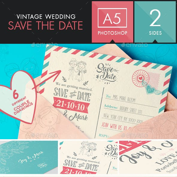 Save the Date - Vintage Wedding Postcard   Choose your couple!