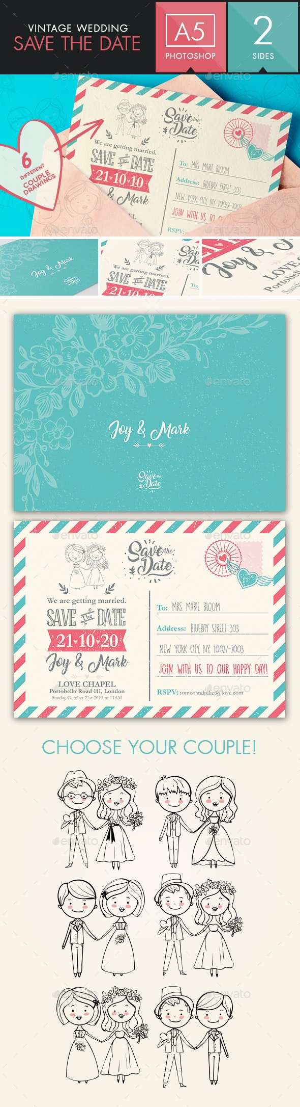 Save the Date - Vintage Wedding Postcard | Choose your couple! - Weddings Cards & Invites