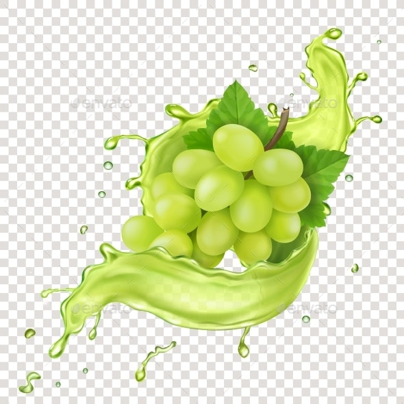 White Grape Branch in Grape Juice Splash - Food Objects